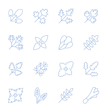 Set of vector line icons, sign and symbols with flat elements of greenery for modern concepts, web and apps. Collection of infographics logos and pictograms. 向量圖像