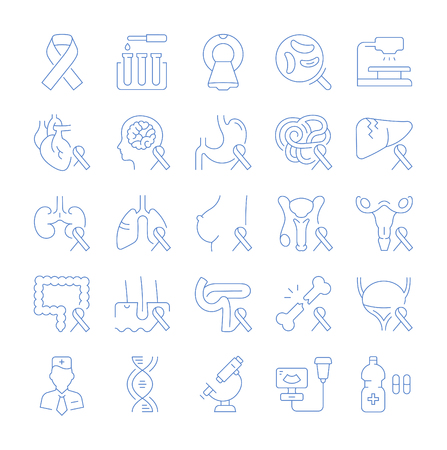 Set vector line icons, sign and symbols in flat design cancer with elements for mobile concepts and web apps. Collection modern infographic logo and pictogram.