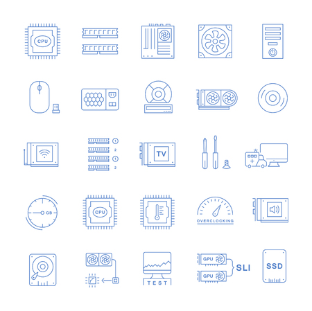 Set vector line icons with open path upgrading computer and hardware, overclocking, cooling, test cpu and gpu with elements for mobile concepts and web apps. Collection modern infographic logo Logo