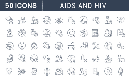 Set of vector line icons with flat elements of AIDS and HIV for modern concepts, web and apps. 矢量图像