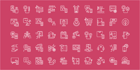 Collection of line white icons of intelligent building. Set of vector simple elements with bold outlines on a color background. Info graphics signs and pictograms. Иллюстрация