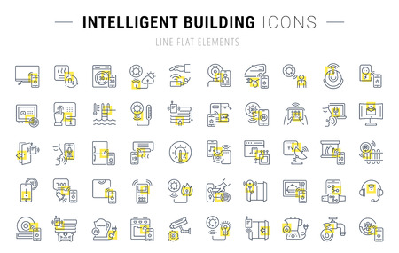Set of vector line icons and signs with yellow squares of intelligent building for excellent concepts. Collection of infographics logos and pictograms.