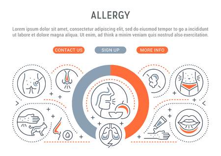 Linear banner of allergy. Vector illustration about the causative agents of allergy.