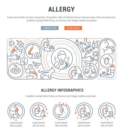 Bandera lineal de alergia. Ilustración de vector sobre los agentes causantes de la alergia. Ilustración de vector