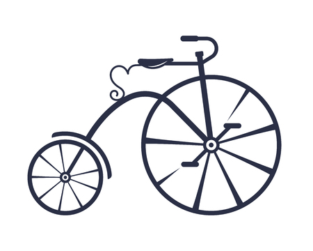 Vector illustration of the penny-farthing. Bicycle for travel. Concept for postcards, banners and to create logos.