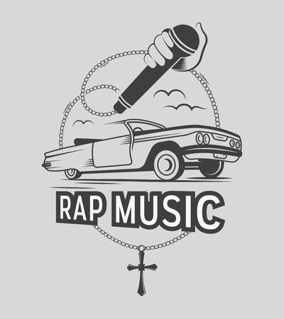 Ilustración de vector de la etiqueta de la música rap y el signo. Insignia y símbolo en estilo vintage.