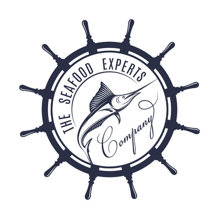 Vector illustration of the seafood experts label and sign. Swordfish badge and symbol for company in vintage style.