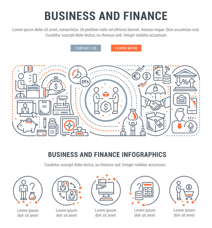 Line banner of business and finance. Vector illustration of economic process.
