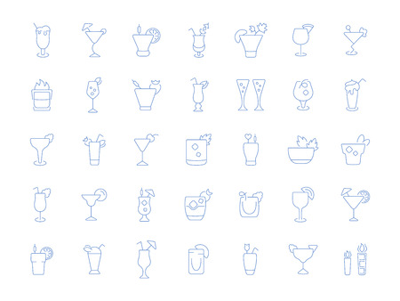 Set of vector line icons, sign and symbols of cocktails for modern concepts, web and apps. Collection of infographics elements, logos and pictograms. Illustration
