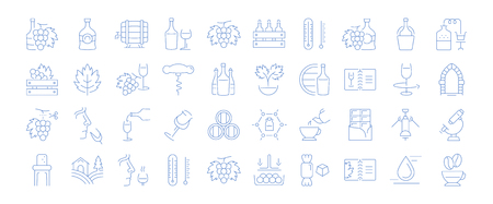 Collection of line icons of Cognac.