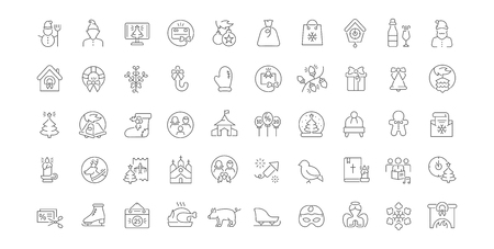 Set of vector line icons of christmas for modern concepts, web and apps.