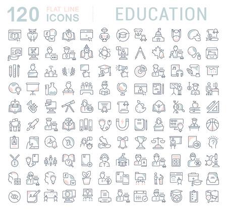 Conjunto de iconos de línea vectorial de educación para aplicaciones, web y conceptos modernos.