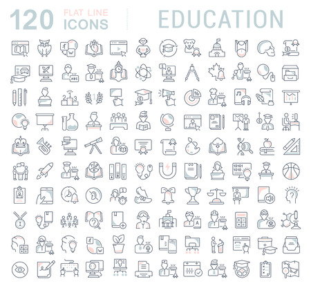 Set of vector line icons of education for modern concepts, web and apps. Ilustrace