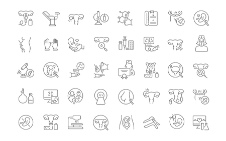 Set of vector line icons of gynecology for modern concepts, web and apps. Vektorové ilustrace