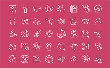 Sammlung von weißen Liniensymbolen der Gynäkologie. Satz einfache Vektorelemente mit fetten Umrissen auf einem farbigen Hintergrund.