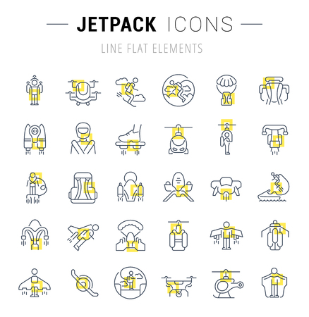 Set of vector line icons and signs with yellow squares of jetpack for excellent concepts. Collection of infographics logos and pictograms.