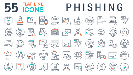 Set of vector line icons of phishing for modern concepts, web and apps.