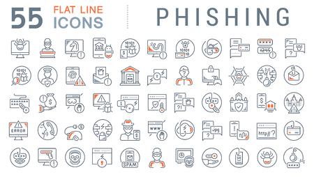Zestaw ikon linii wektora phishingu dla nowoczesnych koncepcji, sieci i aplikacji.