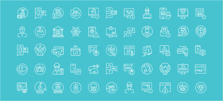 Collection of line white icons of phishing. Set of vector simple elements with bold outlines on a color background.