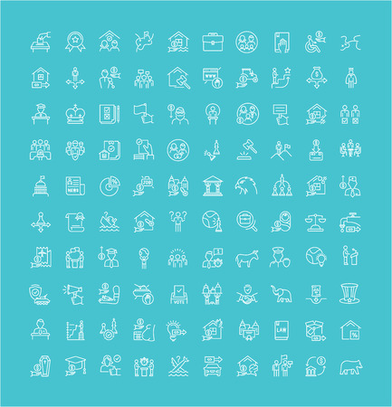 Collection of line white icons of politics. Set of vector simple elements with bold outlines on a color background.
