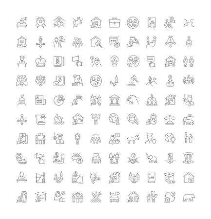 Conjunto de iconos de líneas vectoriales de la política para aplicaciones, web y conceptos modernos.