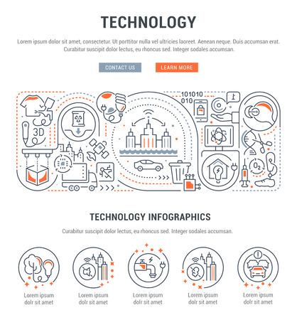 Linear banner of technology. Vector illustration of innovation. Vecteurs