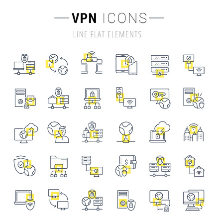 Set of vector line icons and signs with yellow squares of VPN for excellent concepts. Collection of infographics logos and pictograms.