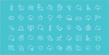 Collection of line white icons of weather. Set of vector simple elements with bold outlines on a color background.