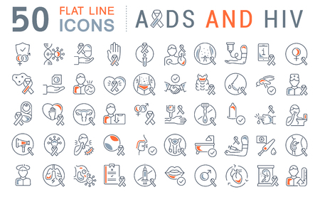 Set of vector line icons with flat elements of AIDS and HIV for modern concepts, web and apps. Illustration