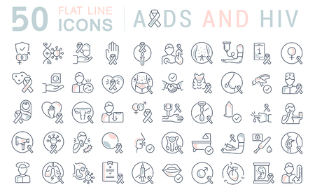 Set of vector line icons with flat elements of AIDS and HIV for modern concepts, web and apps.