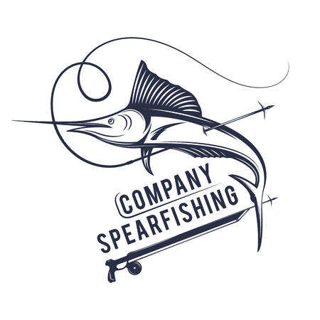 Vector illustration of the spear fishing company label and sign. Swordfish badge and symbol in vintage style. Illustration