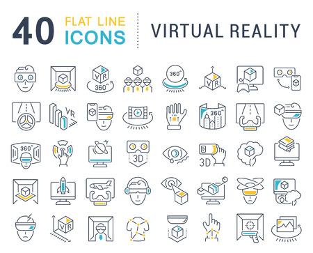 Ensemble d'icônes de ligne vectorielle de réalité virtuelle pour les concepts modernes, le Web et les applications.