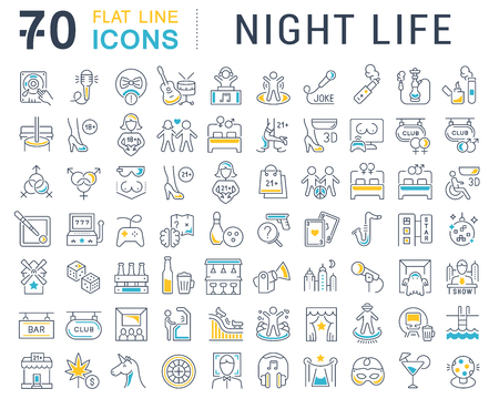 Set of vector line icons of night life for modern concepts, web and apps. Vetores