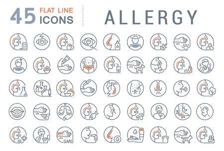 Set of vector line icons of allergy for modern concepts, web and apps. Illustration