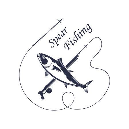 Illustrazione vettoriale dell'etichetta e del segno di pesca subacquea. Distintivo e simbolo di salmone in stile vintage.