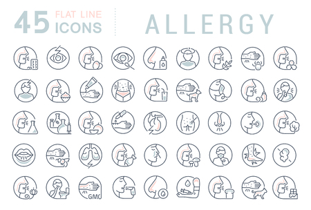 Set of vector line icons of allergy for modern concepts, web and apps. Vecteurs