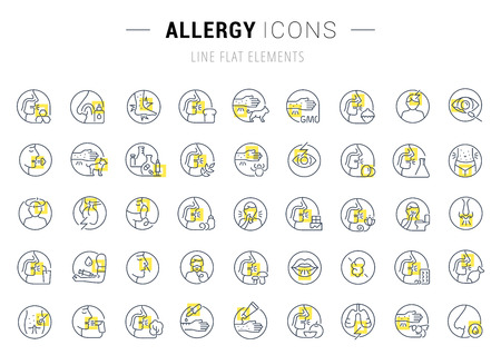 Set of vector line icons and signs with yellow squares of allergy for excellent concepts. Collection of infographic and pictogram.. Illustration