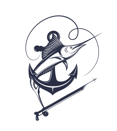 Vector illustration of the spear fishing label. Swordfish badge and symbol in vintage style. Vettoriali
