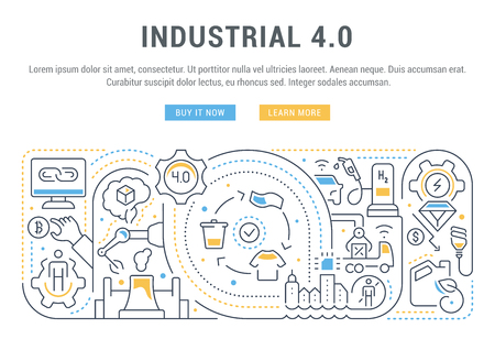 Linear banner of the industrial 4.0. Vector illustration of the industrial revolution. Foto de archivo - 111697826