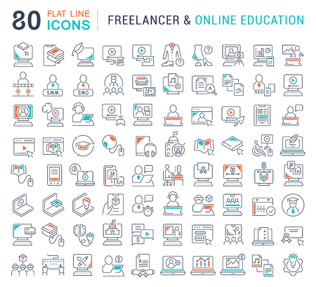Set of vector line icons of freelancer and online education for modern concepts, web and apps. Illusztráció