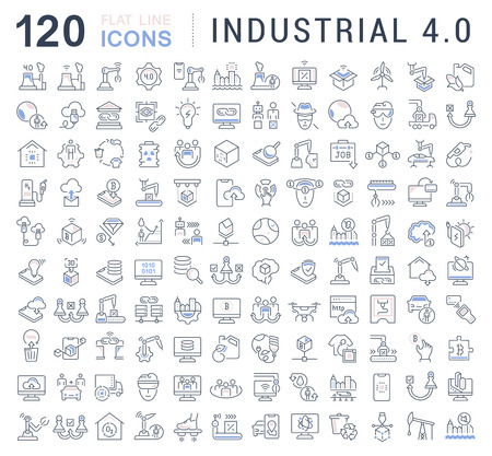 Set of vector line icons of industrial 4.0 for modern concepts, web and apps. Illustration