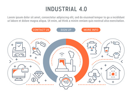 Linear banner of the industrial 4.0. Vector illustration of the industrial revolution. Imagens - 111697832