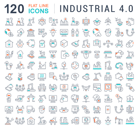 Set of vector line icons of industrial 4.0 for modern concepts, web and apps. 向量圖像