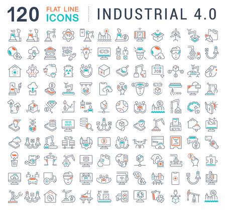 Zestaw ikon linii wektora przemysłowego 4.0 dla nowoczesnych koncepcji, sieci i aplikacji.