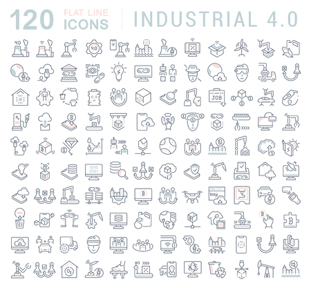 Set of vector line icons of industrial 4.0 for modern concepts, web and apps. Vettoriali