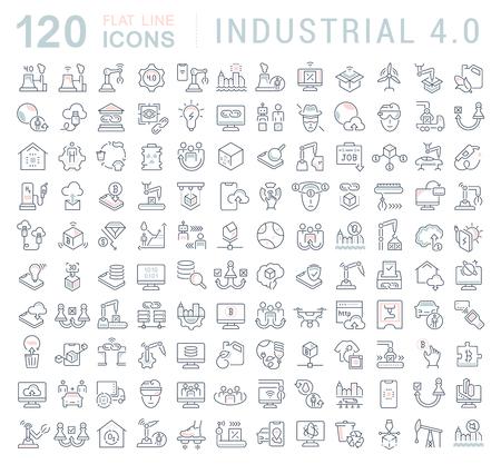 Zestaw ikon linii wektora przemysłowego 4.0 dla nowoczesnych koncepcji, sieci i aplikacji. Ilustracje wektorowe