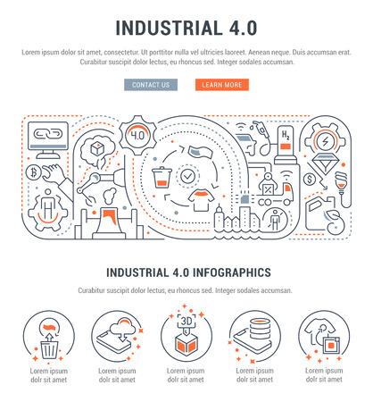 Banner lineal del industrial 4.0. Ilustración de vector de la revolución industrial.
