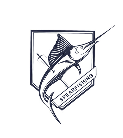 Vector illustration of the spear fishing label and sign. Swordfish badge and symbol in vintage style.