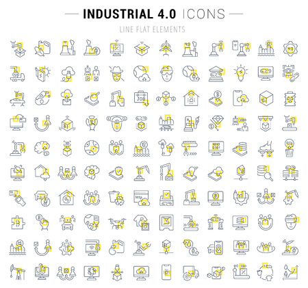 Conjunto de iconos de líneas vectoriales y letreros con cuadrados amarillos de industrial 4.0 para conceptos excelentes. Colección de infografías y pictogramas. Ilustración de vector