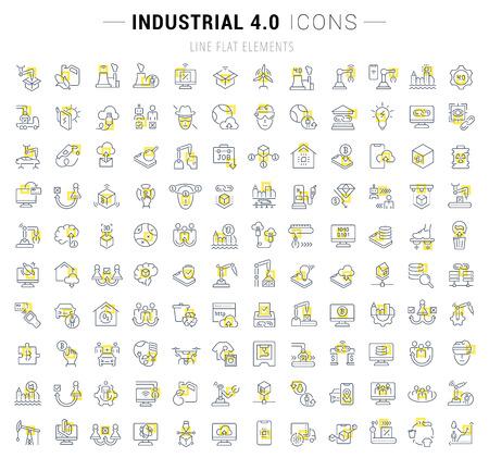 Set von Vektorliniensymbolen und Schildern mit gelben Quadraten von Industrie 4.0 für hervorragende Konzepte. Sammlung von Infografiken und Piktogrammen. Vektorgrafik